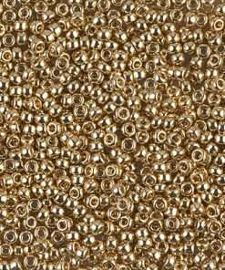Japanese Seed Bead, Miyuki 11-193, Opaque Light 24Kt Gold Plated, 11/0 15 grams