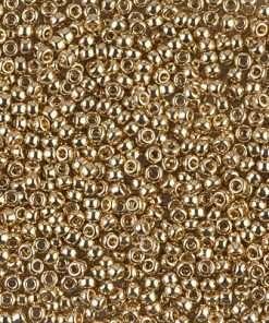 Japanese Seed Bead, Miyuki 11-193, Opaque Light 24Kt Gold Plated, 11/0 15 grams