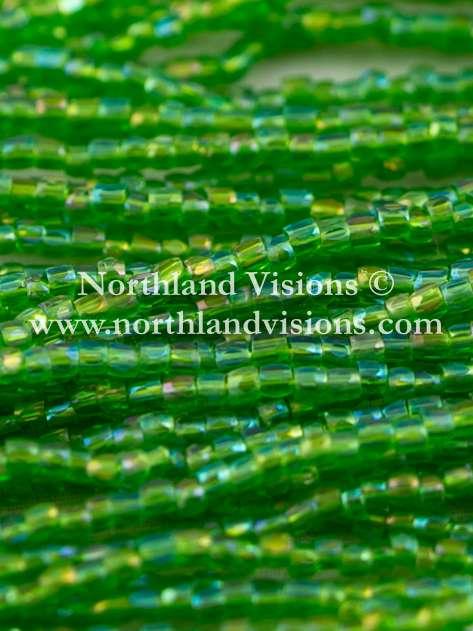Czech 3 Cut Seed Bead, Transparent Pale Green AB, 9/0 1 Hank