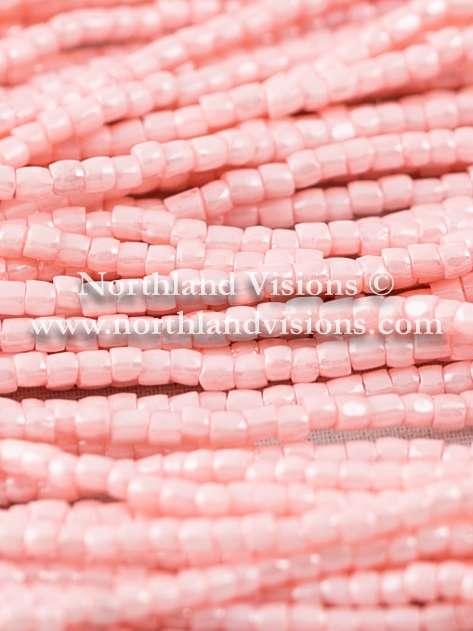 Czech 3 Cut Seed Bead, Opaque Light Pink Sol Gel, 9/0 1 Hank