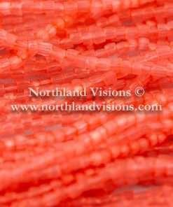 Czech 3 Cut Seed Bead, Transparent Satin Coral, 9/0 1 Hank