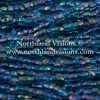 Czech 3 Cut Seed Bead, Transparent Color Lined Aqua/Black AB, 9/0 1 Hank