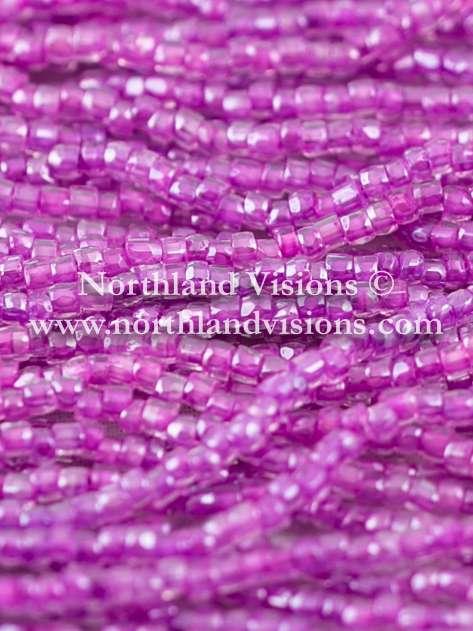 Czech 3 Cut Seed Bead, Crystal Color Lined Plum, 9/0 1 Hank