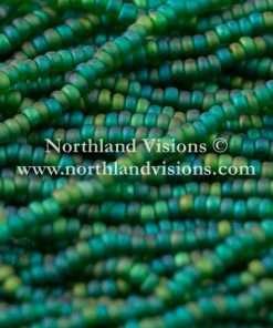 Czech Seed Bead, Transparent Dark Green Matte AB, 11/0 1 Hank