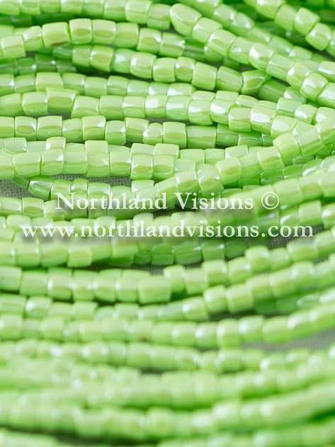 Czech 3 Cut Seed Bead, Opaque Light Green Luster, 9/0 1 Hank