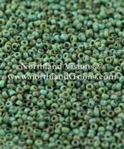 Japanese Seed Bead, Miyuki 4514, Opaque Picasso Turquoise, 15/0 14 grams
