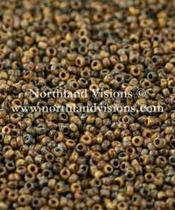Japanese Seed Bead, Miyuki 4517, Opaque Picasso Brown, 15/0 14 grams