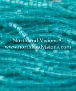 Czech 3 Cut Seed Bead, Transparent Satin Emerald Blue, 9/0, 1 Hank