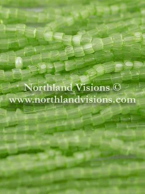 Czech 3 Cut Seed Bead, Transparent Satin Bright Green, 9/0, 1 Hank