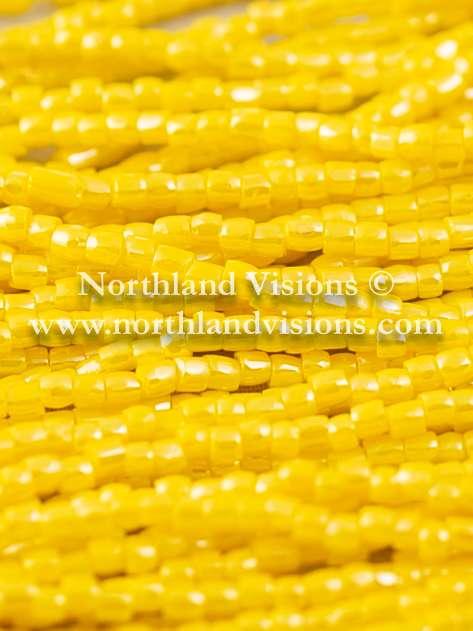 Czech 3 Cut Seed Bead, Opaque Yellow Luster, 9/0 1 Hank
