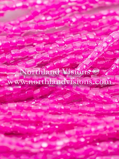 Czech 3 Cut Seed Bead, Transparent Crystal Color Lined Hot Pink, 9/0 1 Hank