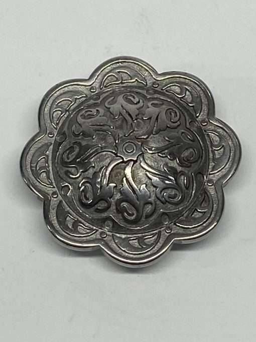 """Floral Silver Post Concho, Stainless Steel, 1.5"""" 1 Piece"""