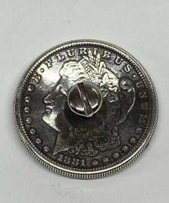 "Imitation Morgan Dollar Silver Coin Concho, Back With Post, 1.5"" 1 Piece"
