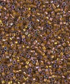 Miyuki Delica Cylinder/Seed Bead, DB1691, Transparent Silver Lined Dark Walnut Brown AB, 11/0 7 grams