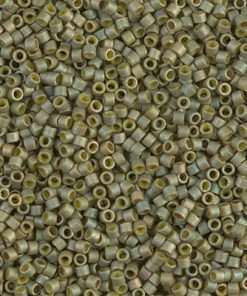 Miyuki Delica Cylinder/Seed Bead, DB0372/DB372, Opaque Light Yellow Green Gold Luster Matte AB, 11/0 7 grams