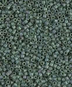Miyuki Delica Cylinder/Seed Bead, DB073/DB373, Opaque Dark Sage Gold Luster Matte AB, 11/0 7 grams