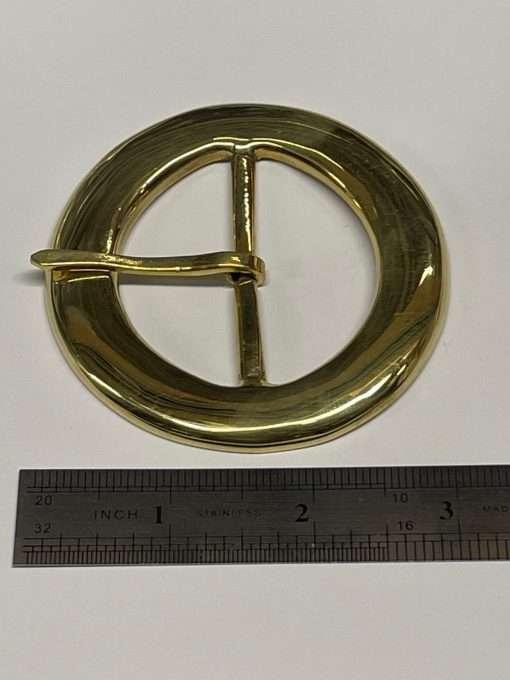 "Round Brass Buckle, Period Style, 2"" Inside Diameter"