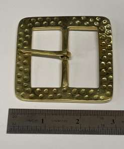 """Square Brass Buckle, Hammered, Period Style, 3"""" Inside Diameter"""