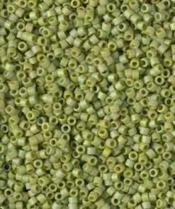 Miyuki Delica Cylinder/Seed Bead, DB2309, Opaque Glazed Seeaweed Green Matte AB, 11/0 7 grams