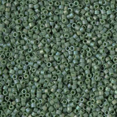 Miyuki Delica Cylinder/Seed Bead, DB2312, Opaque Glazed Basil Green Matte AB, 11/0 7 grams