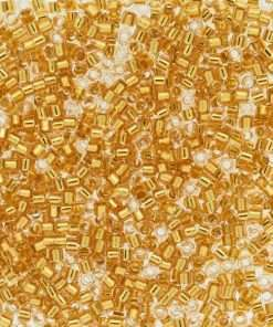 Miyuki Delica Cylinder/Seed Bead, DB2521, Transparent 24Kt Gold Lined Crystal, 11/0 7 grams