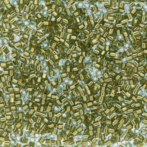 Miyuki Delica Cylinder/Seed Bead, DB2522, Transparent 24Kt Gold Lined Light Aqua, 11/0 7 grams