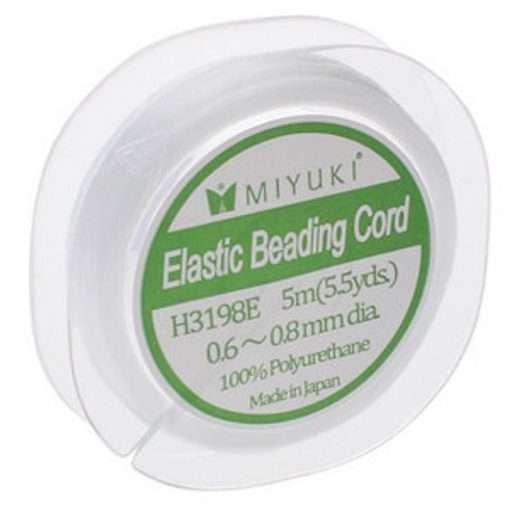 Miyuki Elastic Beading Cord, H3198E, .6mm~.8mm, White, 5 meters (5.5 yards)
