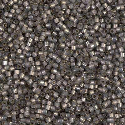 Miyuki Delica Cylinder/Seed Bead, DB0631/DB631, Transparent Silver Lined Opal Dark Grey, 11/0 7 grams