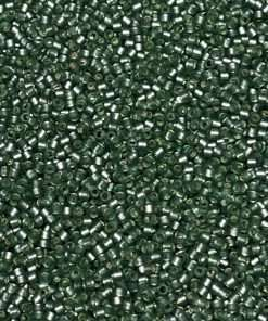 Miyuki Delica Cylinder/Seed Bead, DB0689/DB689, Transparent Silver Lined Moss Semi Frosted, 11/0 7 grams