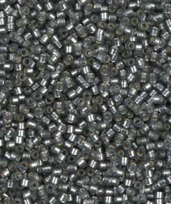 Miyuki Delica Cylinder/Seed Bead, DB0697/DB697, Transparent Silver Lined Grey Semi Frosted, 11/0 7 grams
