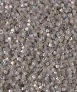 Miyuki Delica Cylinder/Seed Bead, DB1877, Silk Satin Pewter AB, 11/0 7 grams